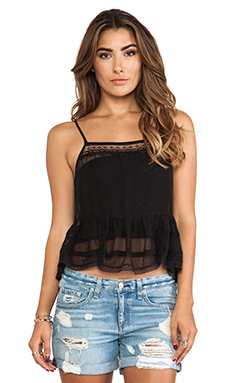 Free People Square Neck Ruffle Tank in Black
