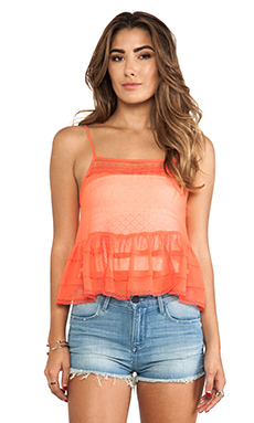 Free People Square Neck Ruffle Tank in Red Star