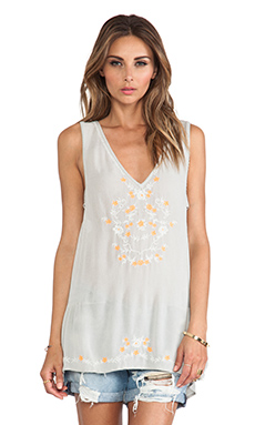Free People Wild Strawberries Top in Pale Green Combo