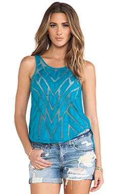 Free People Ginger Cut Work Top in Deep Turquoise