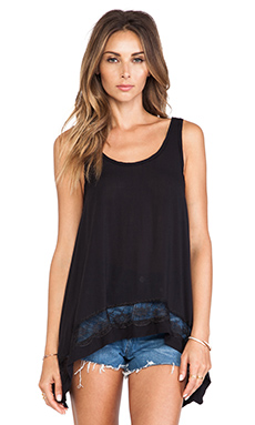 Free People Outlined High Low Cami in Black