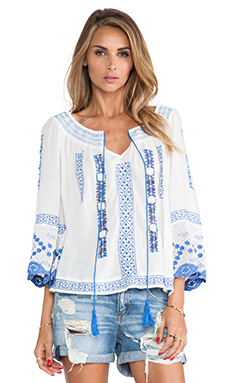 Free People Silver Springs Swing Top in Ivory Combo