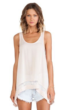 Free People Outlined High Low Cami in Shell Pink