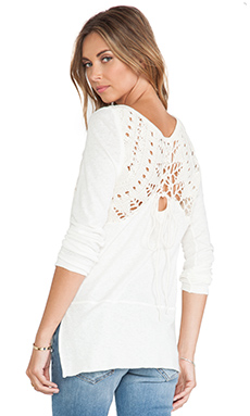 Free People Lace Up Swit Tee in Cream