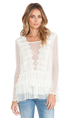 Free People Midnight Memories Lace Top in Cream
