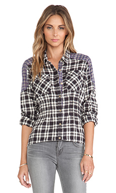 Free People Catch Up With Me Plaid Shirt in Black Combo