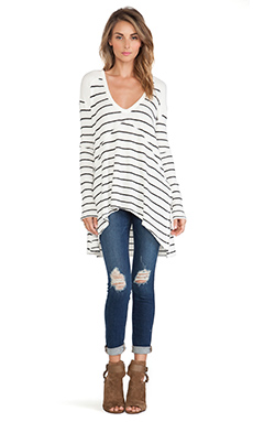 Free People Striped Sunset Park Thermal in Ivory Combo