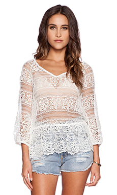 Free People Saturdays Lace Top in Ivory