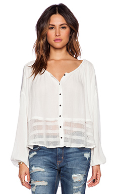 Free People Rainy Days Swing Top in Ivory