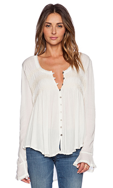 Free People Blue Bird Smocked Top in Ivory