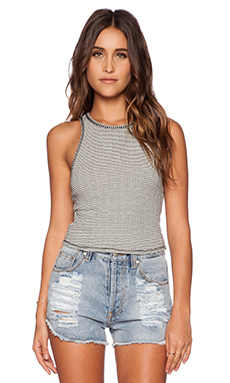 Free People Jacquard Stripe Tank in Black & Cream