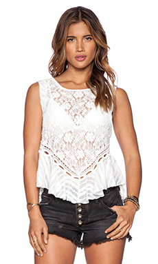Free People Dark Bloom Lace Tank in Ivory