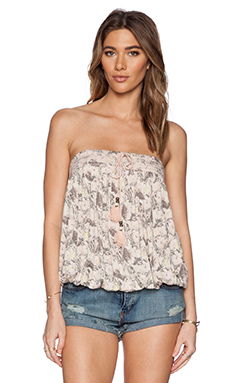 Free People Bodega Tube Top in Washed Sunrise Combo