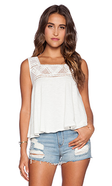 Free People Costa Mesh Tank in Ivory