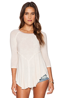 Free People Weekends Top in Linen Combo