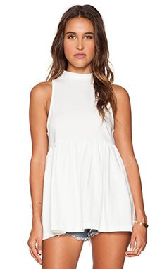 Free People Retro Mock Neck Tank in Ivory