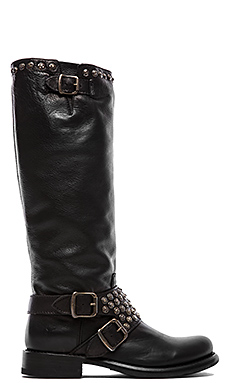 Frye Jenna Studded Tall Boot in Black