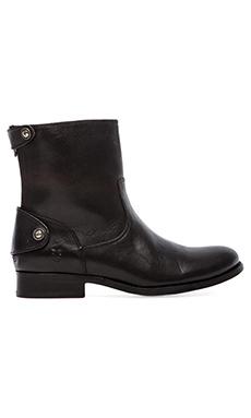 Frye Melissa Button Zip Short Boot in Black