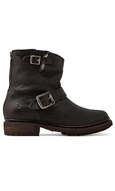 Frye Valerie 6 Motorcycle Lamb Shearling Lined Boot in Black