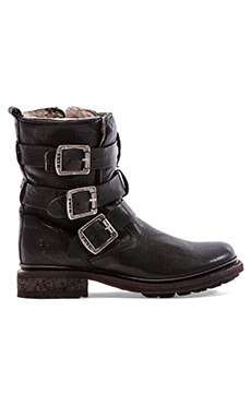 Frye Valerie Shearling Strappy Boot in Black