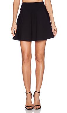 GETTINGBACKTOSQUAREONE Flare Mini Skirt in Black