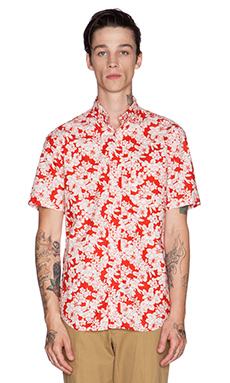 Gitman Vintage Hibiscus Red Button Down in Red