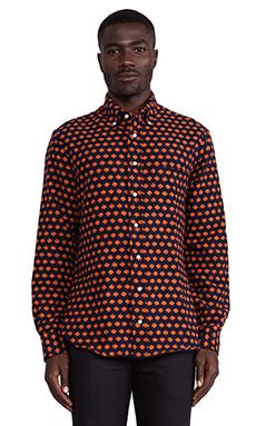 Gitman Vintage Portuguese Flannel Button Down in Dot Orange