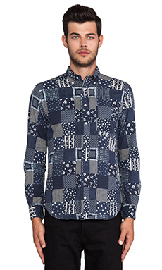 Gitman Vintage Patchwork Print Button Down in Indigo