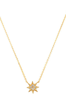 GJENMI Starburst Necklace in Gold & White Sapphire
