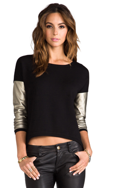 Generation Love Bobo French Terry Long Sleeve Sweater in Black/Gold