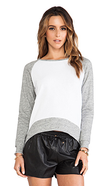 Generation Love Emma Perf Front Sweatshirt in White & Grey