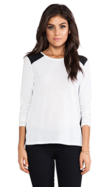 Generation Love Sydney Perforated Combo Long Sleeve in White & Black