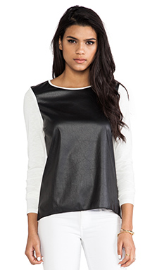 Generation Love Phoenix Faux Leather Top in Ivory & Black