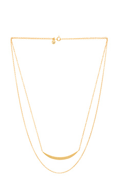gorjana Crescent Layered Necklace in Gold Matte