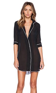 Gooseberry Intimates Milan Long Sleeve Dress in Black & White