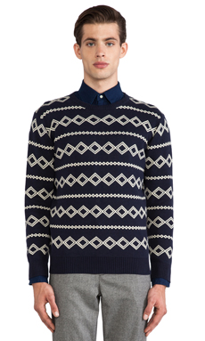 GANT Rugger Diamond Jacquard Sweater in Navy