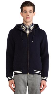 GANT Rugger Wool Varsity Hoodie in Navy
