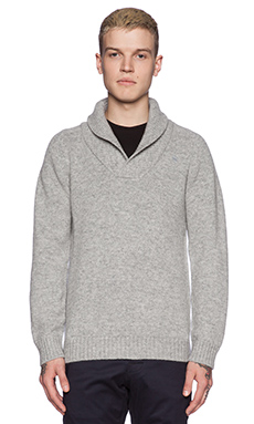 G-Star Gammit Shawl Collar Sweater in Grey Heather