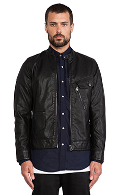 G-Star Defend Slim 3D Vegan Leather Jacket in Black
