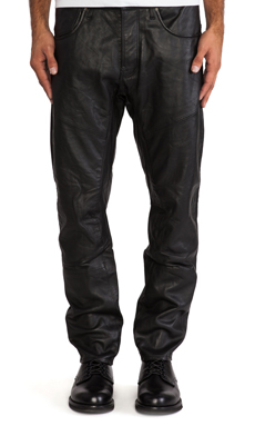 G-Star A Crotch Leather Tapered Pant in Black