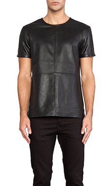G-Star A Crotch Leather Tee in Black