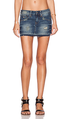 G-Star Arc Ripped Denim Skirt in Dark Aged Destroy