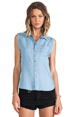 G-Star Lancer BF Sleeveless Shirt in Slake Denim Light Aged