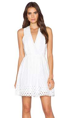 Greylin Shandi Eyelet Border Dress in White