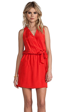 Greylin Karris Faux Wrap Silk Dress in Grenadine