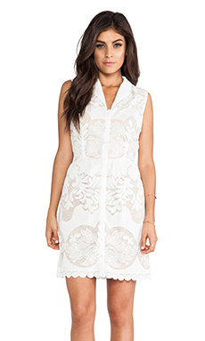 Greylin Gwen Sleeveless Shirtdress in Ivory