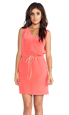 Greylin Carly Drape Front Silk Dress in Bright Coral