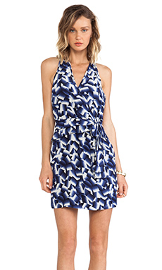 Greylin Trina Silk Faux Wrap Dress in Navy