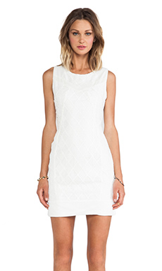 Greylin Dawson Lace Blocked Dress in White