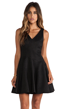 Greylin Ava Python Fit n Flare Dress in Black